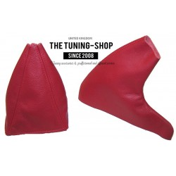 FOR  MG MGF 95-00 GEAR & HANDBRAKE GAITER DARK RED LEATHER