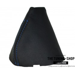 FOR BMW X3 E83 2003-2010 AUTOMATIC GEAR GAITER BLACK LEATHER BLUE STITCHING