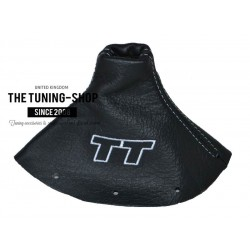 FOR AUDI TT 1998-2006 EMBROIDERY GEAR GAITER BLACK LEATHER WHITE STITCHING