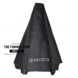 FOR AUDI A4 B7 2005-2007 BLACK LEATHER GEAR GAITER WHITE STITCHING QUATTRO EMBROIDERY