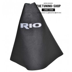 FOR KIA RIO 2012-2016 MANUAL BLACK LEATHER GEAR GAITER WITH BLUE RIO EMBROIDERY