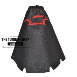 FOR NISSAN JUKE 2010-2015 GEAR GAITER BLACK LEATHER RED STITCHING