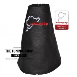 FOR RENAULT CLIO 2006-2012 GEAR GAITER BLACK LEATHER NURBURGRING EMBROIDERY WHITE STITCH
