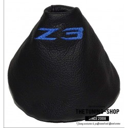FOR BMW Z3 1995-2002 GEAR GAITER BLACK LEATHER BLUE STITCHING EMBROIDERY