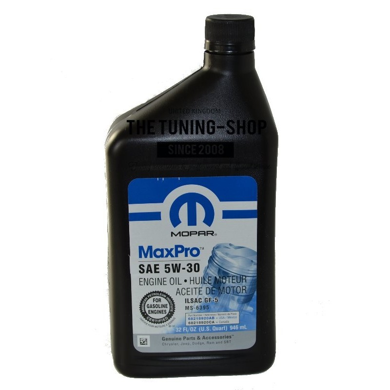 Original mopar petrol engine oil sae 5w 30 maxpro for Which motor oil is thicker