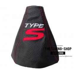 FOR  HONDA CIVIC FK2 06-11 MK8 S SE TYPE S GEAR GAITER BLACK LEATHER EMBROIDERY TYPE S Red Stitch