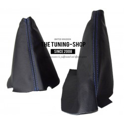 FOR CHEVROLET CORVETTE C6 2005-2013 GEAR HANDBRAKE GAITER BLACK LEATHER WITH BLUE STITCH