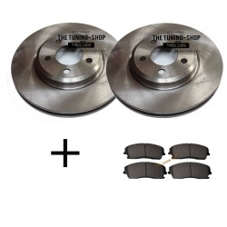 Front Brake Disc Rotors 53022A Diameter 320 mm Drilled & Slotted + CBK Front Brake Pads RWD