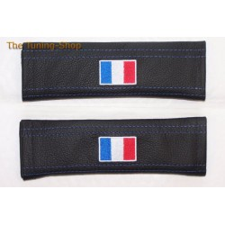 SEAT BELT COVERS x 2 GENUINE BLACK LEATHER FRENCH FLAG EMBROIDERY WITH BLUE STITCH NEW