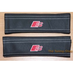 SEAT BELT COVERS x 2 FOR AUDI GENUINE BLACK LEATHER EMBROIDERY S WITH WHITE STITCH NEW