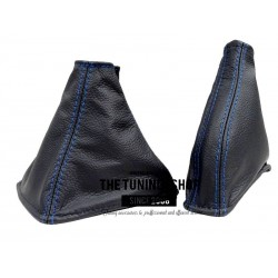 FOR LEXUS IS 2005-2013 MANUAL GEAR GAITER BLACK LEATHER BLUE STITCHING