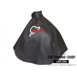 FOR ALFA ROMEO BRERA 2005-10 GEAR GAITER BLACK LEATHER BLACK STITCH EMBROIDERY LOGO NURBURGRING