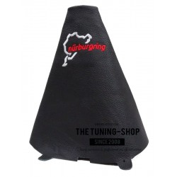 FOR FORD FIESTA MK7 08-13 GEAR GAITER BLACK LEATHER NURBURGRING EMBROIDERY BLACK STITCH