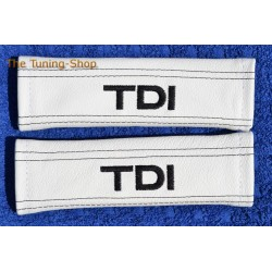 SEAT BELT COVERS WHITE GENUINE LEATHER EMBROIDERY TDI black stitching