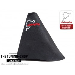 FOR SEAT TOLEDO MK2 LEON MK1 99-05 MANUAL GEAR GAITER BLACK LEATHER STYLE NURBURGRING RED STITCH