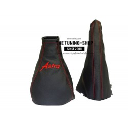 FOR ASTRA G COUPE GEAR & HANDBRAKE GAITER BLACK LEATHER BLUE ASTRA EMBROIDERY