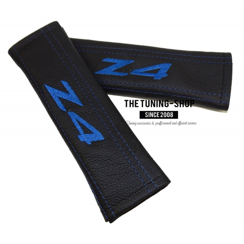 Seat Belt Covers Harness Pads Black Genuine Leather Embroidery Z4 Blue For Bmw The Tuning Shop Ltd