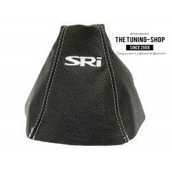 FOR VAUXHALL ASTRA MK5 H 2005-2009 GEAR GAITER BLACK LEATHER embroidery SRI WHITE STITCHING