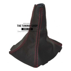 FOR SCION TC 2005-2010 GEAR GAITER BLACK ITALIAN LEATHER RED STITCHING