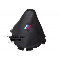 FOR BMW X3 F25 2011-2016 MANUAL GEAR GAITER BLACK LEATHER BLACK STITCHING