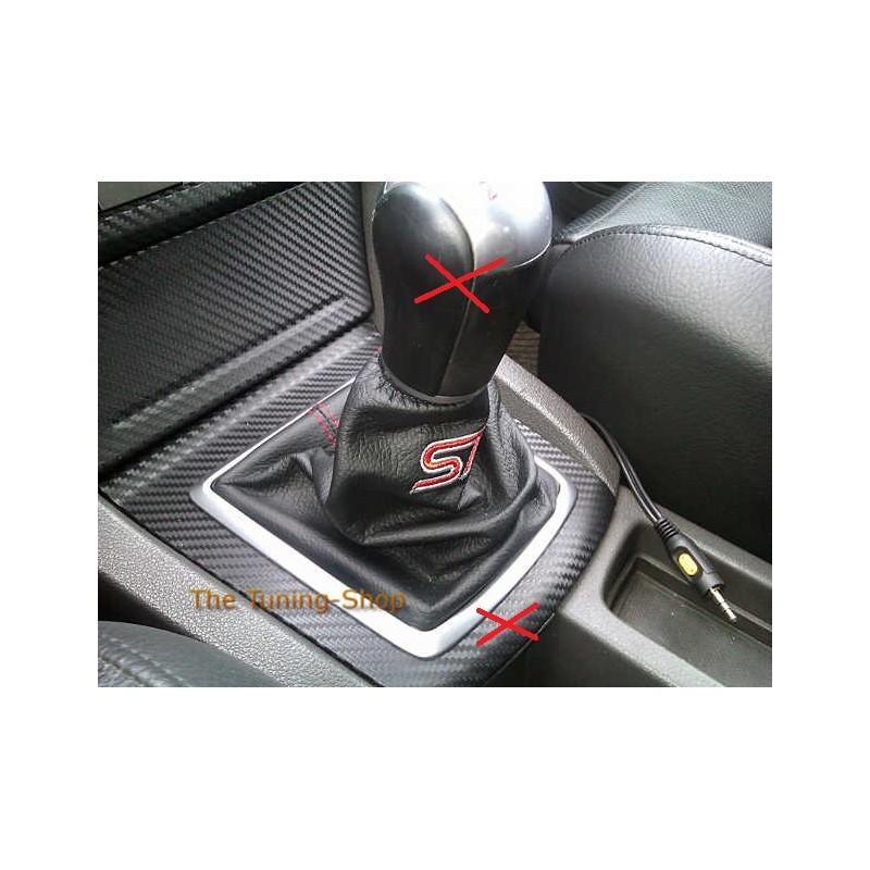for ford focus st mk3 05 08 gear gaiter black leather red. Black Bedroom Furniture Sets. Home Design Ideas