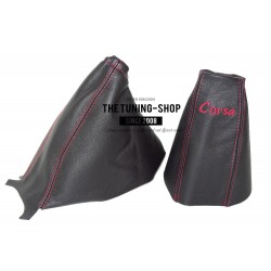 FOR VAUXHALL CORSA D 2006+ GEAR HANDBRAKE GAITER BLACK RED SRI EMBROIDERY