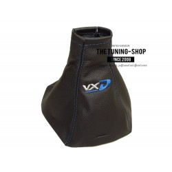 FOR VAUXHALL OPEL VECTRA C 02-08 SIGNUM GEAR GAITER BLACK LEATHER BLUE STITCHING Embroidery VXD