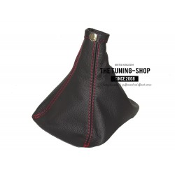 FOR VAUXHALL OPEL INSIGNIA 2008-2015 GEAR GAITER BLACK ITALIAN LEATHER RED STITCHING