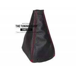 FOR SAAB 9-3 SS 2003+ GEAR GAITER BLACK LEATHER RED STITCHING