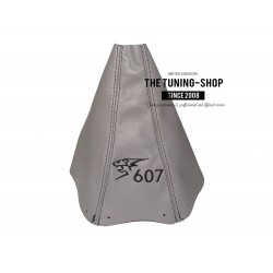 FOR PEUGEOT 607 2000-2008 GEAR GAITER GREY LEATHER BLACK  STITCHING