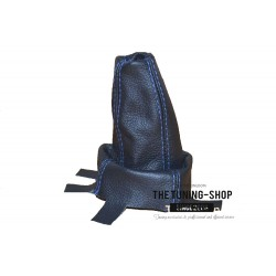 FOR  HONDA CIVIC TYPE R 2007+ GEAR GAITER BOOT BLACK LEATHER BLUE ST