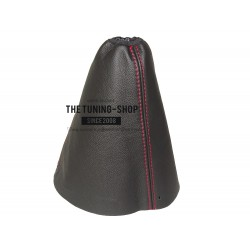 FOR PEUGEOT BOXER FL MK2 2006-2016 GEAR GAITER BLACK ITALIAN LEATHER RED STITCHING