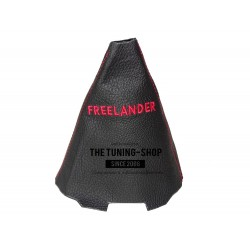 FOR LAND ROVER FREELANDER 2003-2005 AUTO GEAR GAITER BLACK LEATHER RED STITCHING EMBROIDERY
