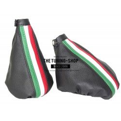 FOR ALFA ROMEO 156 FL 2003-2005 GEAR GAITER BLACK LEATHER ITALIAN COLOURS STRIPES