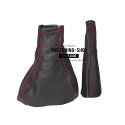 FOR  VAUXHALL ASTRA MK2 OPEL KADETT E GAITERS BLACK LEATHER RED STITC