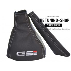 FOR  VAUXHALL ASTRA MK2 OPEL KADETT E GAITERS LEATHER EMBROIDERED GSI GREY STITCH