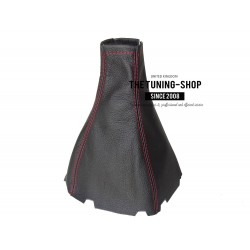 FOR CHEVROLET AVEO 2008-2011 GEAR GAITER SHIFT BOOT BLACK LEATHER RED STITCHING