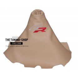 FOR SEAT IBIZA CORDOBA 02-08 GEAR GAITER BEIGE TAN LEATHER EMBROIDERY FR
