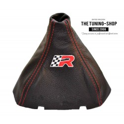 FOR SEAT IBIZA 2009-2013 GEAR GAITER BLACK LEATHER RED STITCH