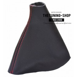 FOR FIAT SCUDO mk2 2007-2012 GEAR GAITER BLACK LEATHER RED STITCHING