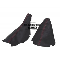 FOR CHEVROLET CORVETTE C6 2005-2013 GEAR HANDBRAKE GAITER BLACK ALCANTARA WITH RED STITCH