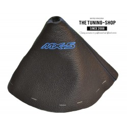 FOR  MAZDA MX-5 MX5 MK3 2005-2013 GEAR GAITER BLACK LEATHER EMBROIDERY BLUE STITCHING