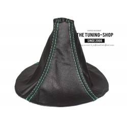 FOR  MAZDA RX-7 RX7 GEAR GAITER BLACK LEATHER GREEN STITCHING