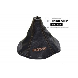 FOR MAZDA RX-7 RX7 GEAR GAITER BLACK LEATHER TAN STITCHING EMBROIDERY