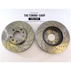 2x Brake Disc Rotor Front Left Right Drilled & Slotted 31460A AS TEC For MAZDA CX-7 2007-2012