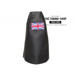 FOR BMW MINI COOPER R55 R56 R57 CLUBMAN GEAR  GAITER BLACK LEATHER RED STITCHING EMBROIDERY ENGLISH FLAG