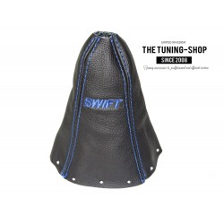 FOR SUZUKI SWIFT 2005-2010 GEAR GAITER BLACK LEATHER EMBROIDERY BLUE STITCHING
