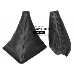 FOR NISSAN SKYLINE R32 GEAR+HANDBRAKE GAITERS BOOTS BLACK LEATHER