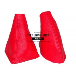 FOR  MG MGF 95-00 GEAR & HANDBRAKE GAITER BRIGHT RED LEATHER