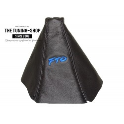 FOR MITSUBISHI FTO 1994-2000 GEAR GAITER BLACK LEATHER EMBROIDERY FTO BLUE